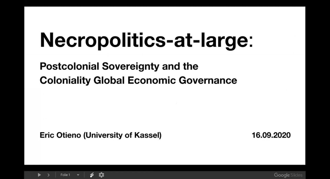 Webinar 16.09.20 Coloniality, Power and Global Economic Governance